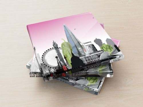 London Skyline With A Twist Pink - Glass Coasters